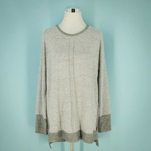 Gibson L Gray Stripe Pullover Tunic Top NWT